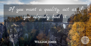 William James Quote About Leadership, Self Esteem, Quality: If You Want A Quality...