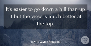 Perseverance Quotes, Henry Ward Beecher Quote About Motivational, Graduation, Perseverance: Its Easier To Go Down...