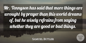 Samuel Butler Quote About Dream, Prayer, World: Mr Tennyson Has Said That...