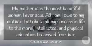 George Washington Quote About Mothers Day, Beautiful, Mom: My Mother Was The Most...