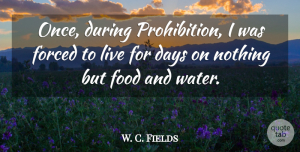 W. C. Fields Quote About Drinking, Food, Beer: Once During Prohibition I Was...