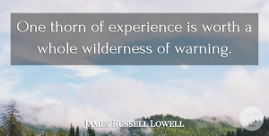 James Russell Lowell Quote About Educational, Knowledge, Understanding: One Thorn Of Experience Is...