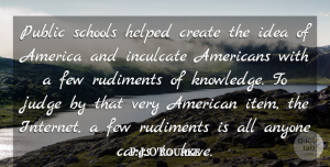 P. J. O'Rourke Quote About America, Anyone, Cares, Few, Helped: Public Schools Helped Create The...