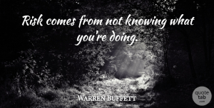 Warren Buffett Quote About Life, Business, War: Risk Comes From Not Knowing...