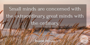 Blaise Pascal Quote About Math, Ordinary Extraordinary, Intelligence: Small Minds Are Concerned With...