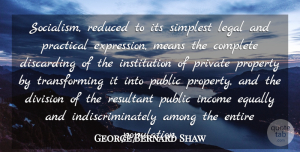 George Bernard Shaw Quote About Among, Complete, Division, Entire, Equally: Socialism Reduced To Its Simplest...
