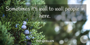 Pat Quillen Quote About People, Wall: Sometimes Its Wall To Wall...
