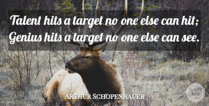 Arthur Schopenhauer Quote About Inspirational, Life, Beautiful: Talent Hits A Target No...