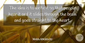 Communication Quotes, Maya Angelou Quote About Life, Wisdom, Communication: The Idea Is To Write...