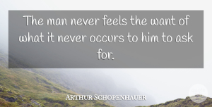 Arthur Schopenhauer Quote About Philosophical, Men, Desire: The Man Never Feels The...