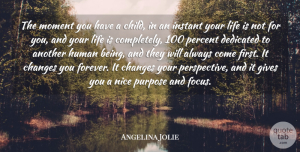 Changes Quotes, Angelina Jolie Quote About Changes, Dedicated, Gives, Human, Instant: The Moment You Have A...