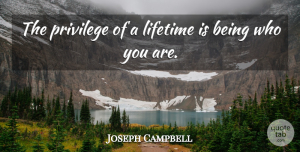 Inspirational Quotes, Joseph Campbell Quote About Inspirational, Being Yourself, Appreciation: The Privilege Of A Lifetime...