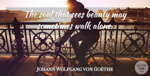Beauty Quotes, Johann Wolfgang von Goethe Quote About Love, Beauty, Loneliness: The Soul That Sees Beauty...