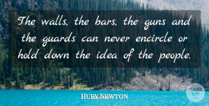 Huey Newton Quote About Wall, Gun, Ideas: The Walls The Bars The...