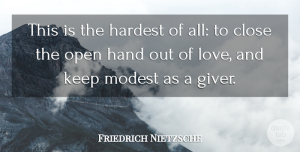 Hands Quotes, Friedrich Nietzsche Quote About Love, Hands, Modesty: This Is The Hardest Of...
