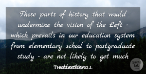 Thomas Sowell Quote About Education, Elementary, History, Left, Likely: Those Parts Of History That...