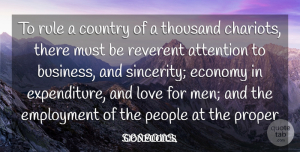 Love Quotes, Confucius Quote About Attention, Business, Country, Economy, Employment: To Rule A Country Of...