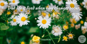 True Life Quotes, Leo Tolstoy Quote About Change, Life Changing, True Life: True Life Is Lived When...