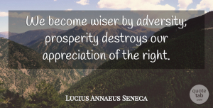 Appreciation Quotes, Lucius Annaeus Seneca Quote About Adversity, Appreciation, Destroys: We Become Wiser By Adversity...