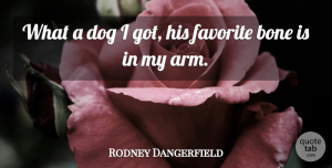 Rodney Dangerfield Quote About Dog, Pet, Arms: What A Dog I Got...
