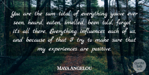 Positive Quotes, Maya Angelou Quote About Inspirational, Positive, Inspiring: You Are The Sum Total...