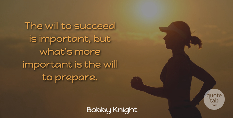 Bobby Knight Quote About Inspirational, Life, Motivational: The Will To Succeed Is...