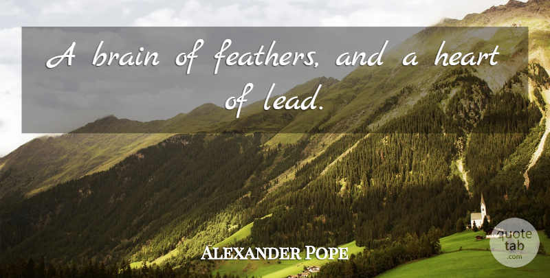 Alexander Pope Quote About Sarcastic, Heart, Brain: A Brain Of Feathers And...