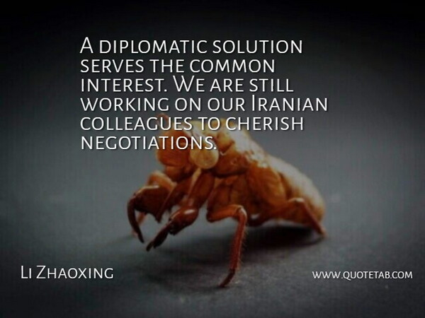Li Zhaoxing Quote About Cherish, Colleagues, Common, Diplomatic, Iranian: A Diplomatic Solution Serves The...