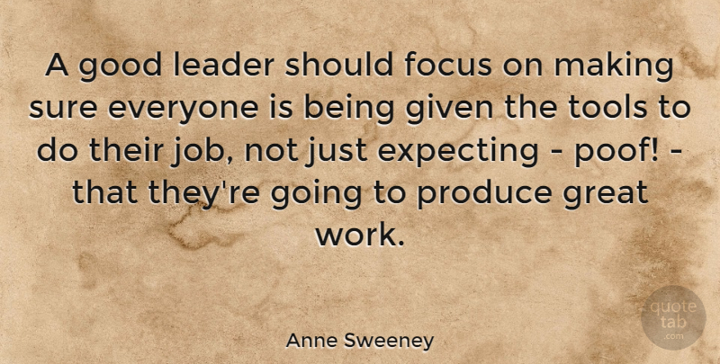 Anne Sweeney Quote About Jobs, Focus, Leader: A Good Leader Should Focus...