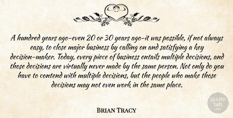 Brian Tracy Quote About Years, Keys, People: A Hundred Years Ago Even...