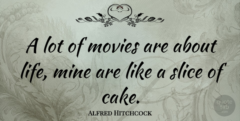 Alfred Hitchcock Quote About Movie, Cake, Gambling: A Lot Of Movies Are...