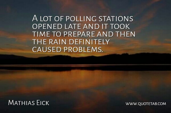 Mathias Eick Quote About Caused, Definitely, Late, Opened, Polling: A Lot Of Polling Stations...