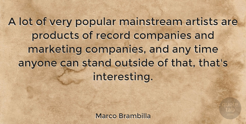 Marco Brambilla Quote About Anyone, Artists, Companies, Mainstream, Outside: A Lot Of Very Popular...