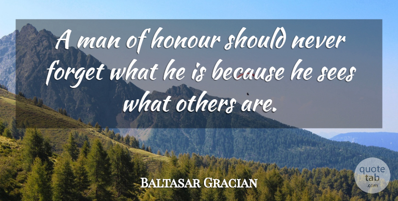 Baltasar Gracian Quote About Truth, Men, Never Forget: A Man Of Honour Should...