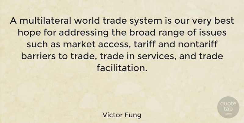 Victor Fung Quote About Addressing, Best, Broad, Hope, Issues: A Multilateral World Trade System...