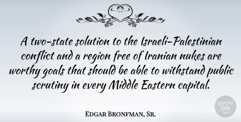 Edgar Bronfman, Sr : A two-state solution to the Israeli