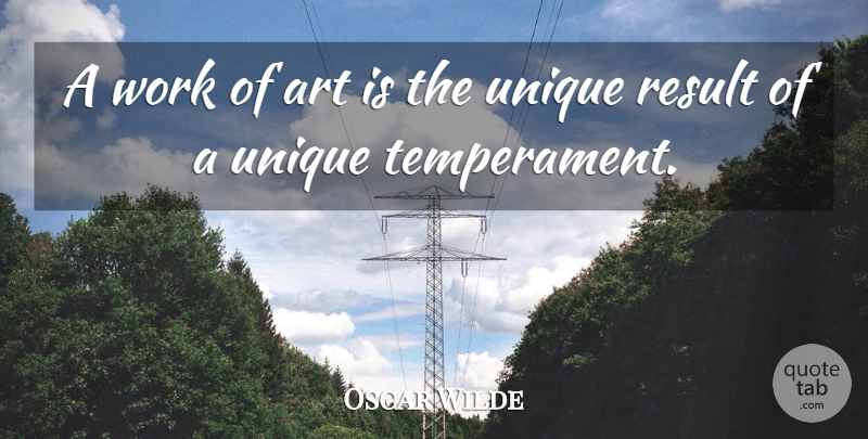 Oscar Wilde Quote About Art, Work, Unique: A Work Of Art Is...