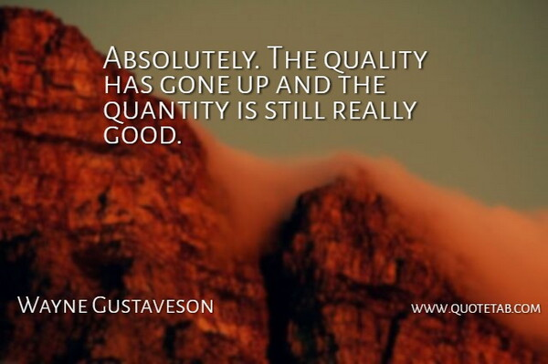 Wayne Gustaveson Quote About Gone, Quality, Quantity: Absolutely The Quality Has Gone...