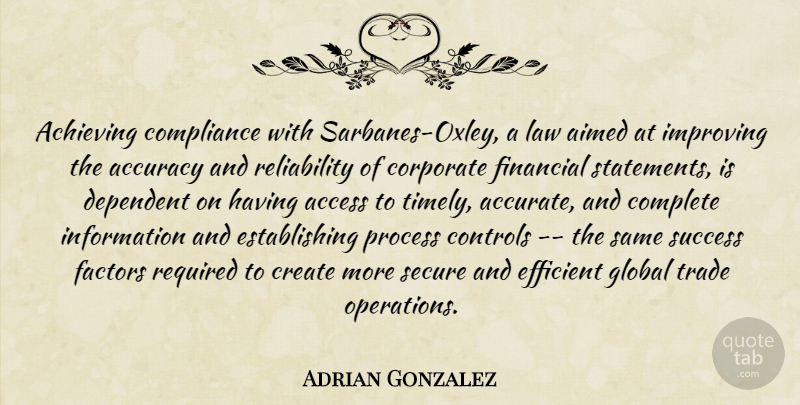 Adrian Gonzalez Quote About Access, Accuracy, Achieving, Complete, Compliance: Achieving Compliance With Sarbanes Oxley...