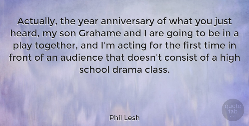 Phil Lesh Quote About Anniversary, Drama, School: Actually The Year Anniversary Of...