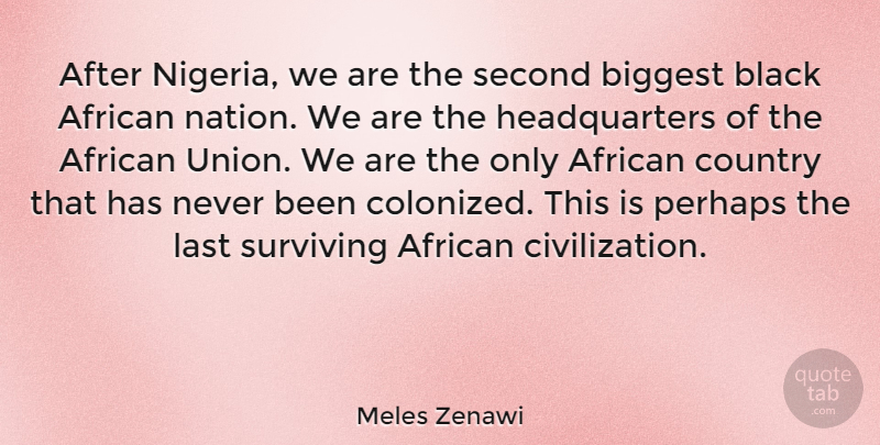 Meles Zenawi Quote About African, Biggest, Country, Perhaps, Second: After Nigeria We Are The...