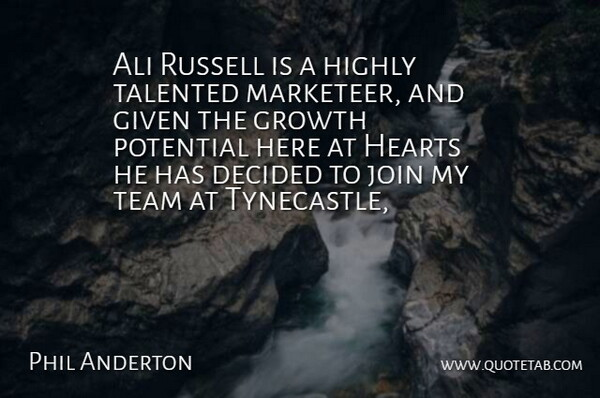Phil Anderton Quote About Ali, Decided, Given, Growth, Hearts: Ali Russell Is A Highly...