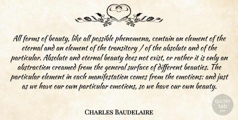 Charles Baudelaire Quote About Beauty, Doe, Different: All Forms Of Beauty Like...