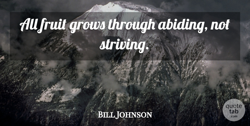 Bill Johnson Quote About Fruit, Abiding, Strive: All Fruit Grows Through Abiding...