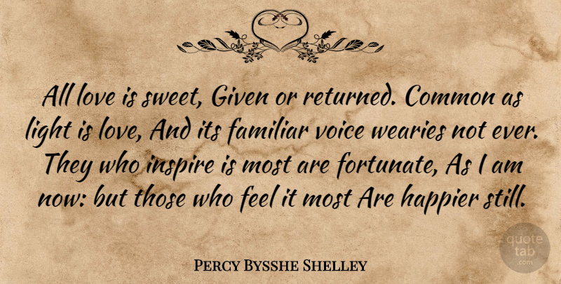 Percy Bysshe Shelley Quote About Common, Cute Love, Familiar, Given, Happier: All Love Is Sweet Given...