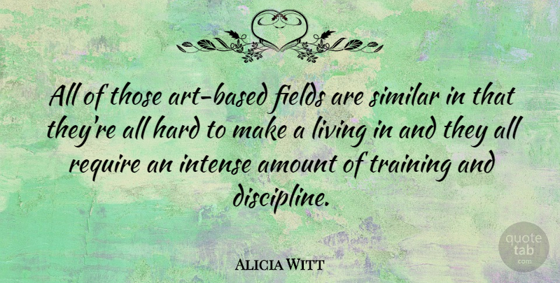 Alicia Witt Quote About Art, Discipline, Training: All Of Those Art Based...
