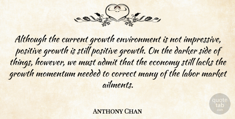 Anthony Chan Quote About Admit, Although, Correct, Current, Darker: Although The Current Growth Environment...