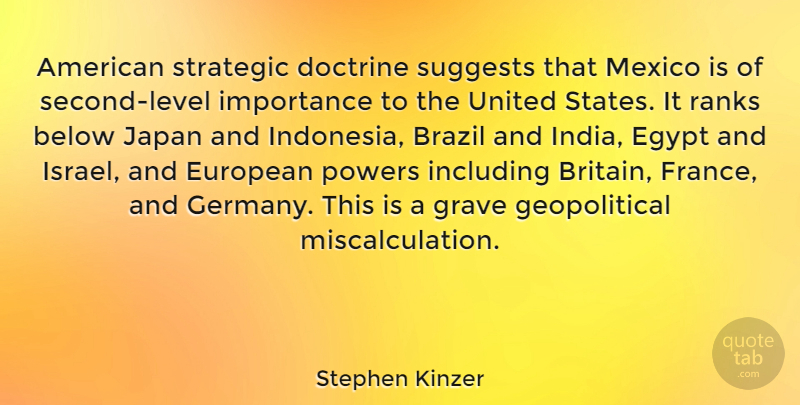 Stephen Kinzer Quote About Below, Brazil, Doctrine, European, Grave: American Strategic Doctrine Suggests That...