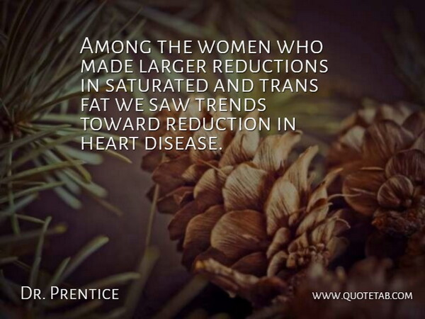 Dr. Prentice Quote About Among, Disease, Fat, Heart, Larger: Among The Women Who Made...