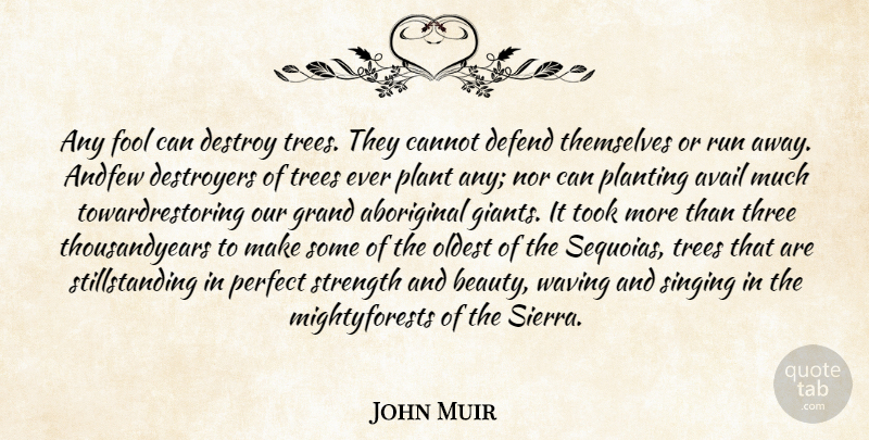 John Muir Quote About Aboriginal, Avail, Cannot, Defend, Destroy: Any Fool Can Destroy Trees...